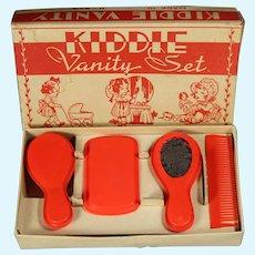 Darling 1930s Kiddie Vanity Celluloid Doll Set! Dydee Baby