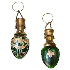 Beautiful Antique Czech Bohemian Glass Chatelaine Perfume Bottle!