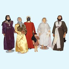 Vintage Artist Helen Bullard Doll Nativity Set! Mary Joseph Jesus Wise Men Shepherd Dolls