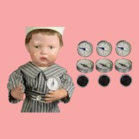 THREE! Old Store Stock! Vintage Mini Japan Doll Sized Compasses w Mirror!