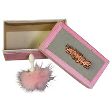 "Darling Antique Doll Sized French Box Says ""BEBE"" w Powder Puff!"
