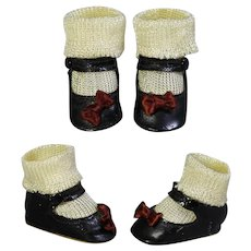 """Fabulous! Vintage 1930s Side Snap Doll Shoes & Socks! For 16-18"""" Composition Doll"""
