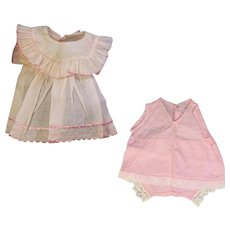 Vintage 1930s Organdy PATSY Factory Compo Doll Dress w Onesie!