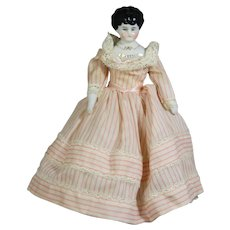 """Antique German Pet Head China Doll """"DOROTHY"""" in Darling Outfit!"""