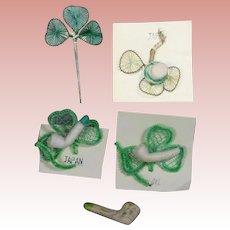 Vintage Mini St. Patrick's Day Items - Bisque Pipe, Hat, Shamrocks