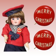 2 Vintage Doll Sized Merry Christmas Pins 1950s Old Store Stock!