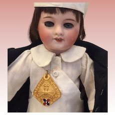 Antique French Enamel Athletic Running Medals! Great for Bisque Doll to Wear!