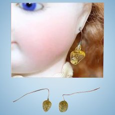 Gorgeous Antique French Fashion Doll Glass Earrings Yellow Color!