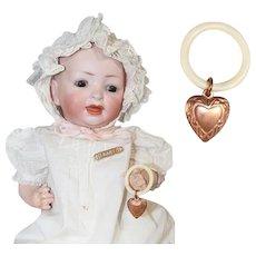 Vintage Mini Doll Baby Rattle w Bone Ring Copper Heart