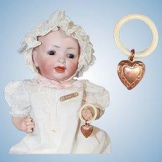 Vintage Mini Doll Baby Rattle w Copper Heart