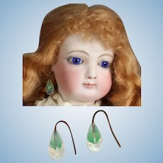 Paris Find! Antique French Fashion Doll Green Glass Drop Earrings!