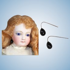 Paris Find! Antique French Fashion Doll Black Mourning Earrings!