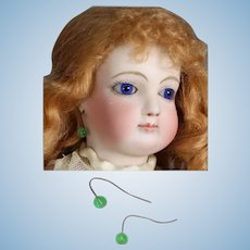 Paris Find! Gorgeous Antique French Fashion Doll Earrings Green!