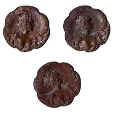 3 Antique French Art Nouveau Copper Buttons w Beautiful Lady!