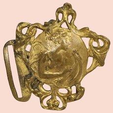 Lovely! Antique Art Nouveau Belt or Shoe Buckle! Angel Playing Harp