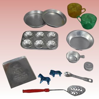 Vintage Doll Baking Set! Cookie Cutters, Muffin Pan, Etc!