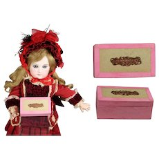 """Darling Antique French Box Says """"BEBE"""" For Your Doll Accessories!"""