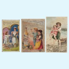 3 Antique Victorian Trade Cards - One w Bisque Doll!