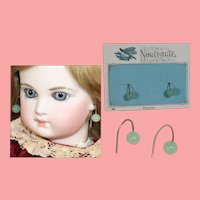 Antique Doll French Glass Jade Color Earrings on Orig Card!