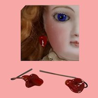 Gorgeous Antique French Fashion Doll Floral Earrings Red Color!