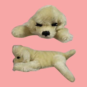 Vintage 1950s Steiff Mohair Sleeping Poodle Dog!
