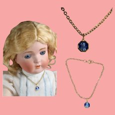 Vintage French Blue Enamel Doll Necklace! St Theresa