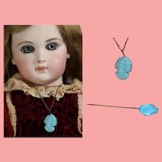 Antique Bisque Doll Turquoise Glass Cameo Necklace and Hat Pin!