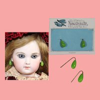 Antique Doll French Green Glass Earrings on Orig Card!
