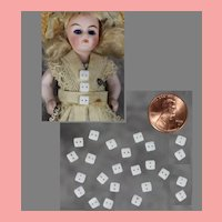 24 Tiny Doll Size Antique Czech Glass Buttons! Perfect for All Bisques!
