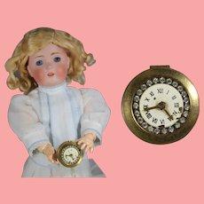 Darling Vintage Mini Doll Sized Compact Box w Clock & Rhinestones!