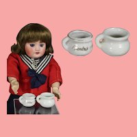 2 Mini Vintage Bisque Dollhouse Doll Chamber Pots