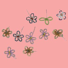 Vintage Doll Sized Beaded Flowers For Millinery Projects!