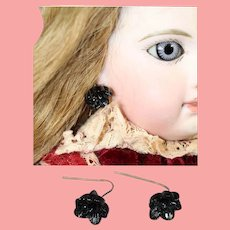 Paris Find! Antique Bisque Doll Black Mourning Earrings!