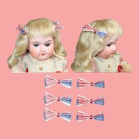 Vintage Patriotic Red White Blue Doll Size Hair Bows & For Doll Clothes
