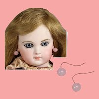 Antique Doll Pink Glass Earrings!