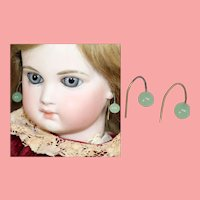 Antique Doll French Glass Jade Earrings