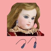 Antique Bisque Doll Blue Earrings for French Fashion Steiner Jumeau Etc!