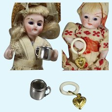 Doll Accessories! Sterling Silver Baby Mug & Baby Rattle!