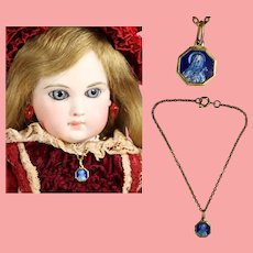 Antique French Blue Enamel Doll Necklace! St Theresa