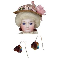 Antique Venetian Glass French Fashion Doll Red Earrings