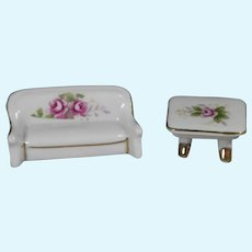 Vintage Bisque Dollhouse Doll Sofa w Matching Table!
