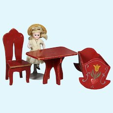 Vintage Red Dollhouse Furniture! Table Chair Cradle!
