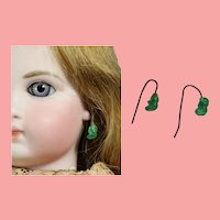 Antique Bisque Doll French Green Glass Twist Earrings!