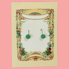Antique Doll French Green Glass Earrings!