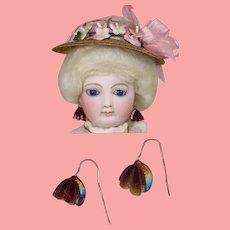 Antique Venetian Glass French Fashion Doll Earrings