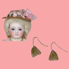 Antique Venetian Glass French Fashion Doll Amber Earrings