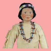Vintage UFDC Bisque Souvenir Native American Character Doll!