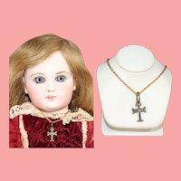 Darling Brass Cross Doll Necklace!