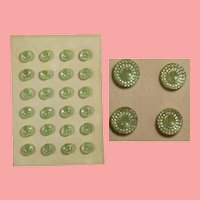 Antique Venetian Glass Green Buttons on Card for Doll Sewing!