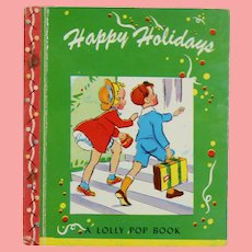 """Vintage 1943 Miniature Doll Sized Story Book """"Happy Holidays""""!"""